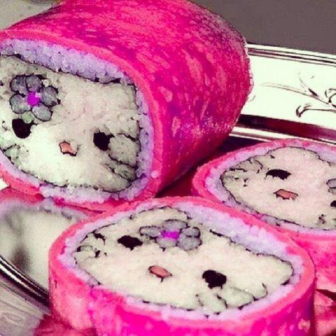 I mean Hello Kitty. I mean Hello Kitty Sushi! - Kandee Johnson❤ johnson Make The World Amazing Aesthetic Food, Pink Aesthetic, Aesthetic Collage, Aesthetic Vintage, Cute Food, Yummy Food, Little Lunch, Hello Kitty Items, Sushi Art