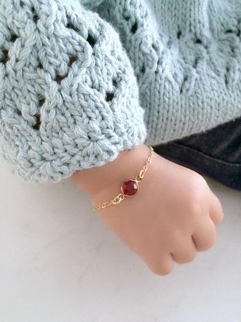 Baby birthstone bracelet baptism bracelet christening bracelet gold filled personalized birthstone bracelet new baby new mom gift - Jewelry - Schmuck