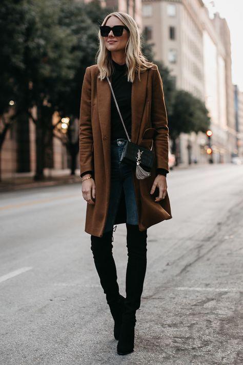 64a04c01843 Blonde Woman Wearing Camel Wool Coat Denim Skinny Jeans Stuart Weitzman  Black Over the Knee Boots Saint Laurent Crossbody Handbag Fashion Jackson  Dallas ...