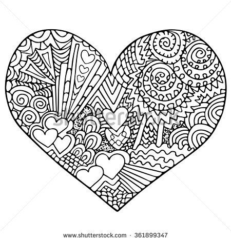 Stock Vector Valentines Day Heart Zentangle Black And White Heart
