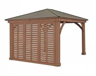 All Cedar 14 X 10 Pergola Pavilion Garden Structure W 125v Electrical Outlets 1 549 99 Gazebo Privacy Gazebo Pergola Designs
