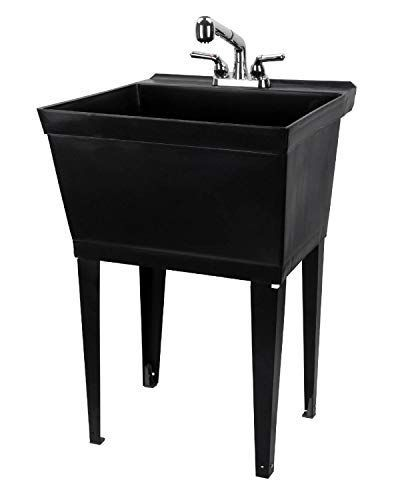 Black Utility Sink Laundry Tub With Pull Out Chrome Faucet