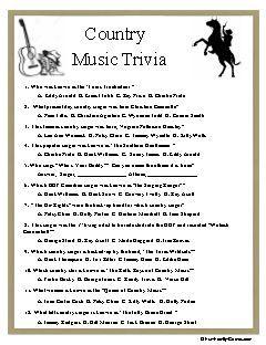 Country Music Trivia Music Trivia Trivia Country Music