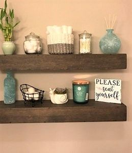 Chunky Floating Shelf Farmhouse Bathroom Shelf Decor Wood Floating Shelves Wooden Box Shelves
