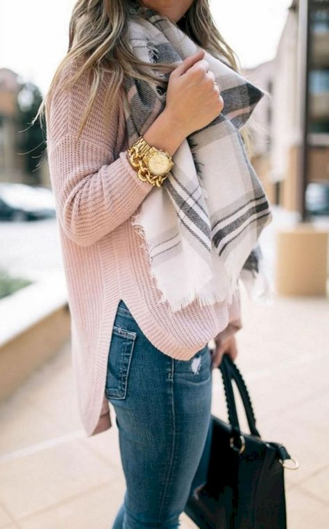 Cute casual women's street style outfit inspiration ideas fo… Cute casual women's street style outfit inspiration ideas for spring, winter, and fall. Blush pink drop shoulder oversized sweater, black and white plaid blanket scarf, skinny jeans.
