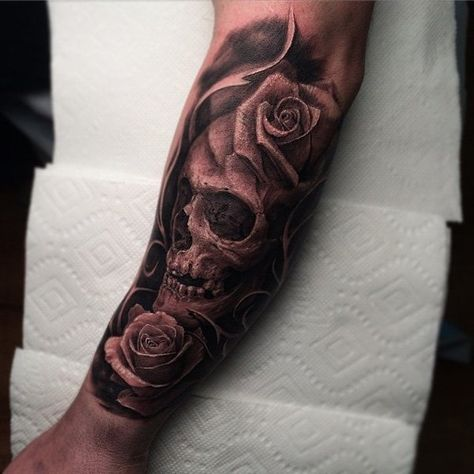 Beautiful skull with rose tattoo - 100 Awesome Skull Tattoo Designs