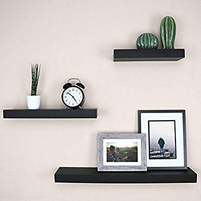 Amazon Com Ballucci Block Floating Wall Ledge 12 16 24 Set Of 3 Black Home Kitchen Floating Shelves Floating Shelf Decor Shelf Decor Bedroom