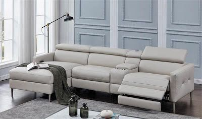 Home Cinema Center Beryl Build Your Own Power Sectional In Light Grey In 2020 Sectional Build Your Own Sectional Modular Design