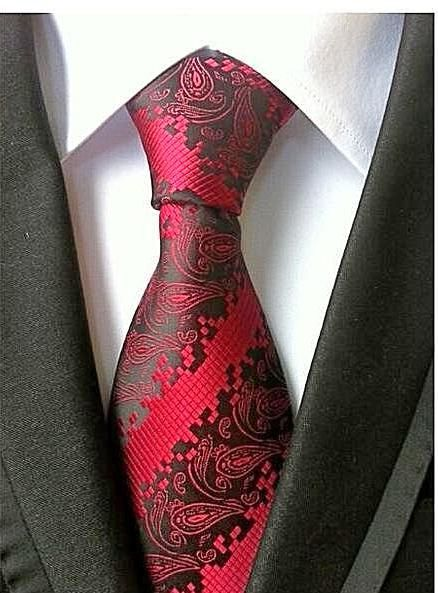 Mens Paisley 100/% Microfiber Poly Woven Wedding Neck Tie Brown