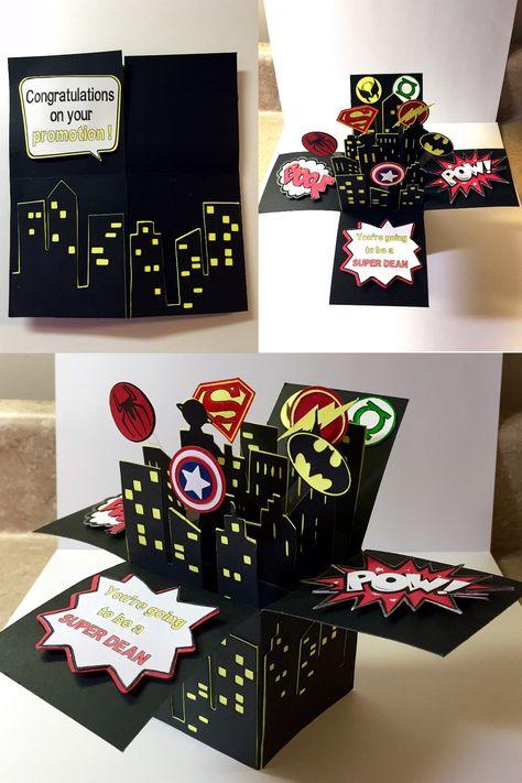 Super Hero Box Card made on Cricut Explore.