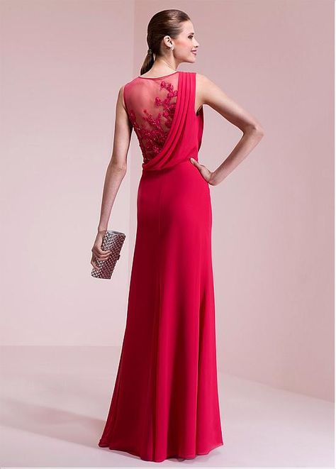 Wedding Dresses Ball Gown, Attractive Chiffon Jewel Neckline A-line Prom Dresses With Lace Appliques DressilyMe