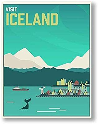 Amazon Com Printed Marketplace Iceland Travel Poster Or Canvas Vintage Art 11x14 Canvas Posters Prin Vintage Travel Posters Cool Wall Art Travel Posters