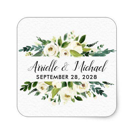 Vintage Floral Greenery Garden Wedding Favors Square Sticker Zazzle Com Garden Wedding Favors Wedding Stickers Wedding Stickers Labels