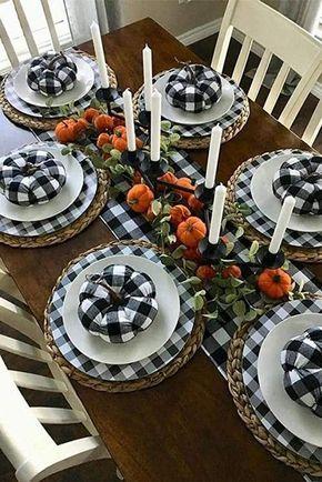 Buffalo Plaid Table Runner Black White Plaid Runner 9ft Etsy Natural Thanksgiving Table Dinner Table Decor Fall Table Decor