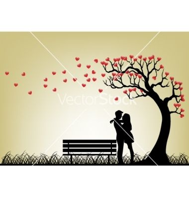 Dating couple silhouette under love tree vector on VectorStock
