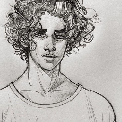 Hair Curly Drawing Sketch Ideas Curly Hair Drawing Boy Hair