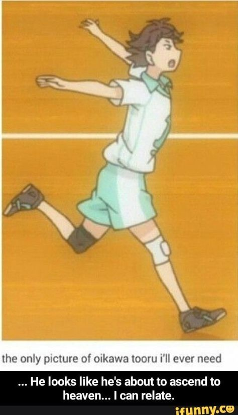 Haikyuu Oikawa - If Oikawa would know, that such a uncool picture of him exists. Anime Meme, Got Anime, Anime Tumblr, Anime Guys, Manga Anime, Anime Art, Haikyuu Funny, Haikyuu Fanart, Haikyuu Ships