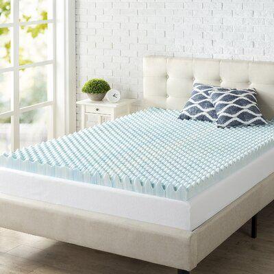 Alwyn Home Convoluted Swirl 3 Gel Memory Foam Mattress Topper Size