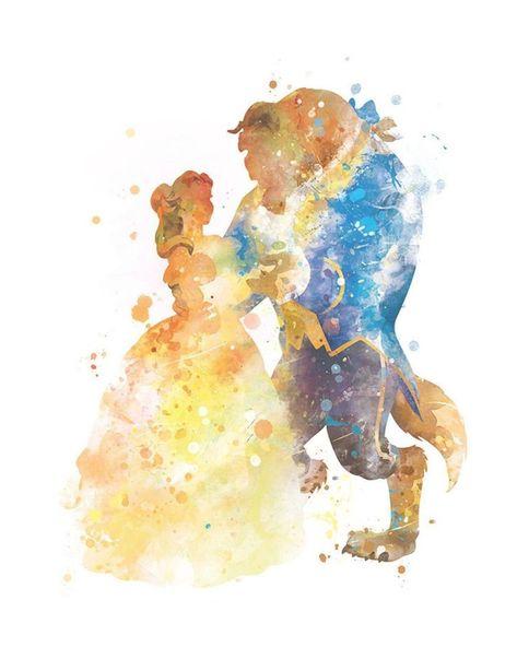 Belleza y la bestia arte impresión Belle Disney arte Disney | Etsy