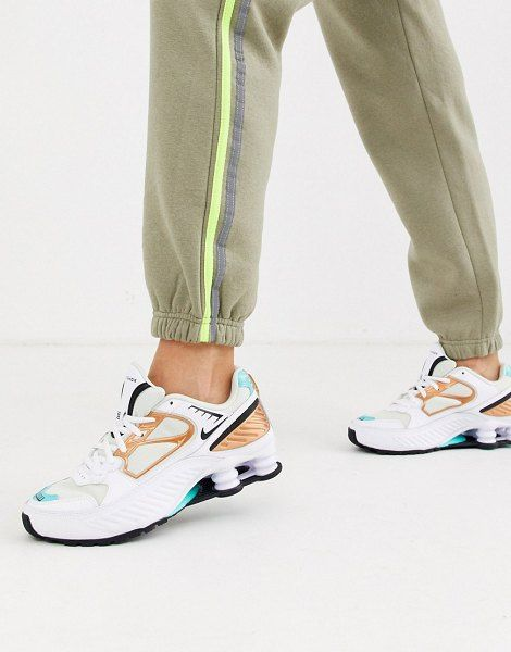 Nike White And Aqua Shox Enigma 9000 Sneakers in 2020 ...