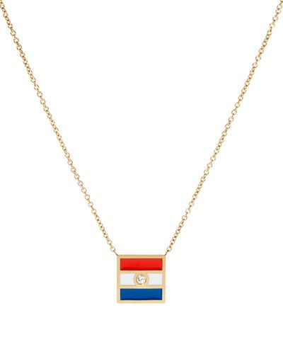 K Kane Code Flag Square Diamond Pendant Necklace - P scqZKAe