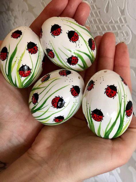 Set of 4 white Hand Decorated Painted Easter Egg with Ladybug, LadybirdsTraditional Slavic Chicken Egg, Pysanka