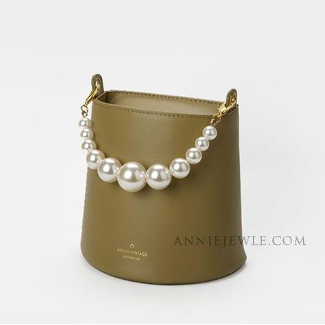 Cute Small Leather Bucket Bag With Pearl Chain Clutch Purse