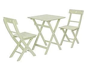 Sedie acacia ~ Set di sedie e tavolino in acacia balcony verde 3 pezzi arredi