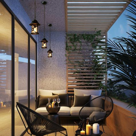Balcony Design, Outdoor Pendant Lighting, House Design, Outdoor Decor, Modern Garden, Outdoor Spaces, Terrace Design, Modern Garden Furniture, Exterior