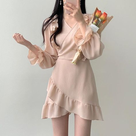 14.08US $ |Woman's Sexy Solid Color Dress One piece V neck Long Bubble Sleeve Lace up Irregular Mini Dress|Dresses|   - AliExpress