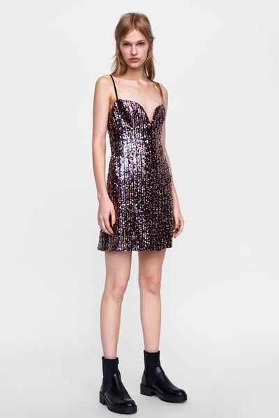 Vestido lentejuelas multicolor | All about Zara