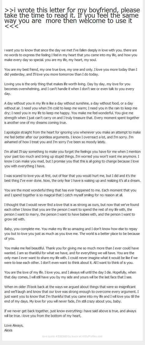I Wrote This Letter For My Boyfriend, Please Take The Time To Read   Thank