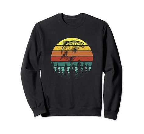 Photo of Retro Vintage Trout Fishing Angler Christmas Birthday Gift Sweatshirt