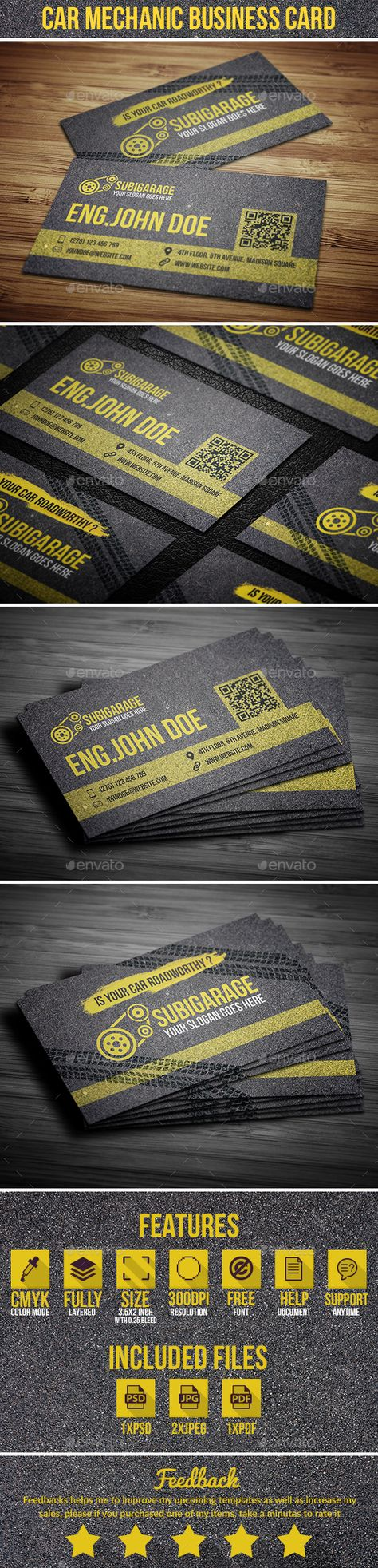 Dark Gray Auto Mechanic Business Cards, Bold Orange Business Cards ...