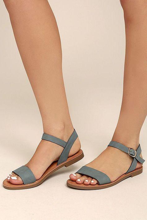 Kamalei Dark Blue Nubuck Flat Sandals #kamalei #nubuck