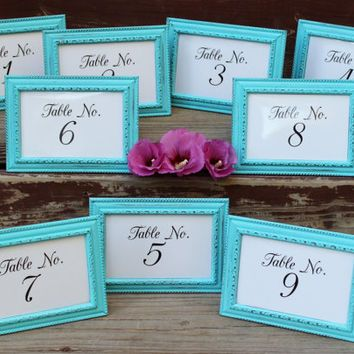 Turquoise Table Number Frame / Table Marker , Beach Theme Wedding Reception…