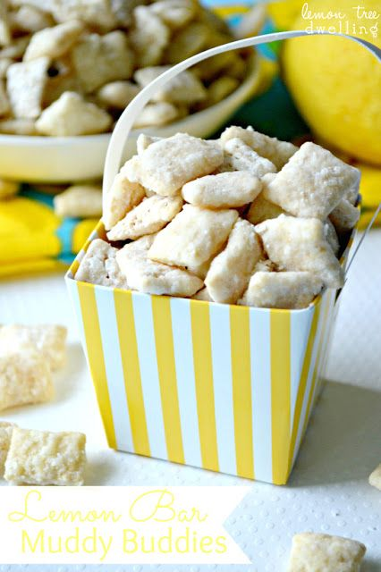 Lemon Bar Muddy Buddies taste just like a lemon bar recipe! These cute lemon desserts make for a great snack during the summer or whenever you're craving something sweet. This is definitely one of the best puppy chow recipes ever.