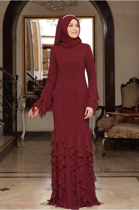 Nadire Firfirli Abiye Bordo Rana Zen The Dress Elbiseler Moda Stilleri