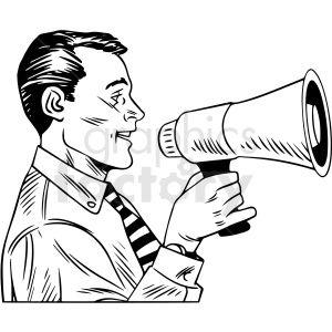 Black White Vintage Man Speaking Through Megaphone Vector Clipart Black White Vintage Clip Art Vintage Men