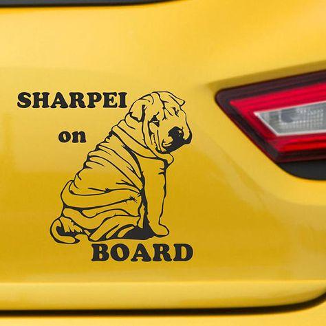 I Love My Sharpei Windshield Sticker Vinyl Auto Window shar pei shar-pei