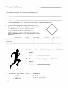 Distance And Displacement Worksheet Worksheets Physics Notes Science Lessons