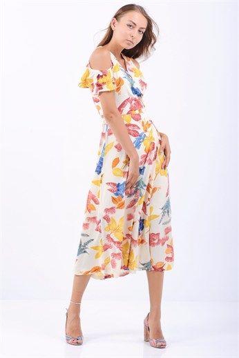 Omuz Acik Pembe Cicekli Beyaz Midi Elbise The Dress Midi Elbise Ve Elbise Modelleri