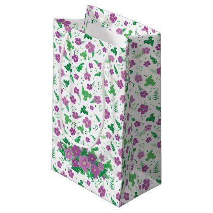 Purple Hibiscus Small Gift Bag Pattern Sample Design Template