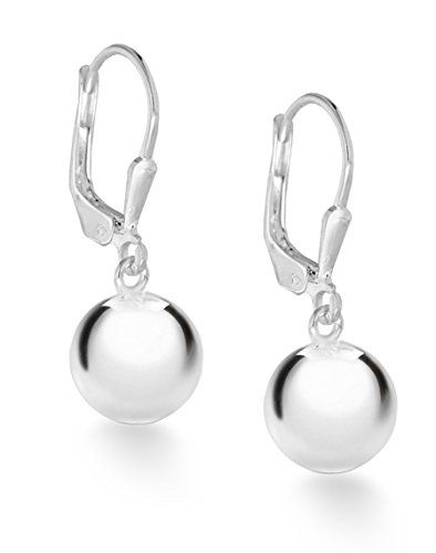 Tuscany Silver Sterling 10mm Ball Lever Back Drop Earrings And