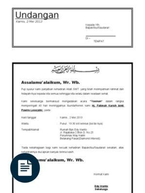 Surat Undangan Tahlil 40 Haridoc Docdadang Undangan Dan Komputer