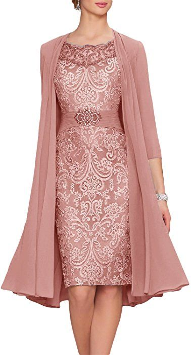 Of Bride Tea Two Length Mother Dresses Newdeve Chiffon The Pieces oQBderxWCE