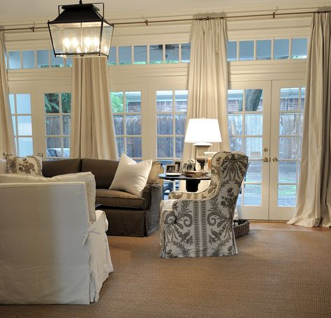 window treatment for a wall of french doors | Cote de Texas - living rooms - wall of french doors, wall of transom ...