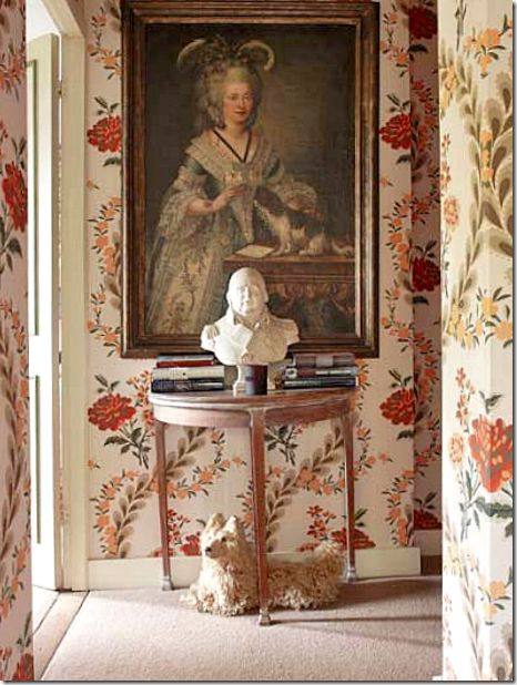 Nicky Haslam ~ hall at his country home