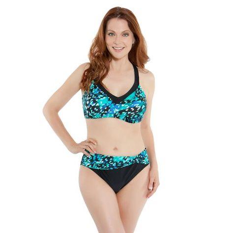 Sweet Escape Women S Rainforest Fervor D Cup Underwire Bra Swim Top Black Turquoise Or Aqua Size 40 Women Swimsuit Separates High Neck Bikinis Womens Swim