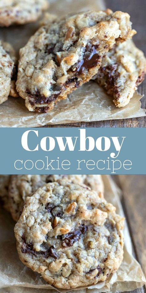 cookies cowboy cookie recipe best Cowboy Cookies Best cowboy cookie recipeYou can find Cookie recipes and more on our website Delicious Cookie Recipes, Chocolate Cookie Recipes, Peanut Butter Cookie Recipe, Best Cookie Recipes, Sugar Cookies Recipe, Yummy Cookies, Baking Chocolate, Chocolate Chip Walnut Cookies, Chocolate Ganache